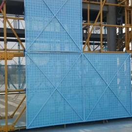 郑州外墙爬架网实体厂家&蓝色外围安全冲孔网底价提货