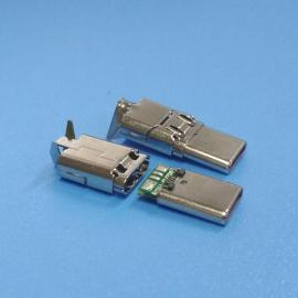 华为数据线type-c插头【两件式线端type-c公头】带马口铁type-c公