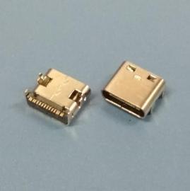 板上型type-c 16P贴片母座【大电流移动电源type-c插座】卧式无弹