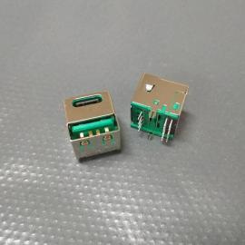 type-c/USB二合一母座(180度立插)一体双口USB AF加type-c母座