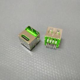 双层type-c彩胶母座 绿胶/type-c af二合一车充母座(立式插板)