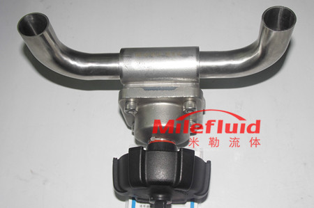 气动U型一体三通隔膜阀,卫生级不锈钢气动U型隔膜阀