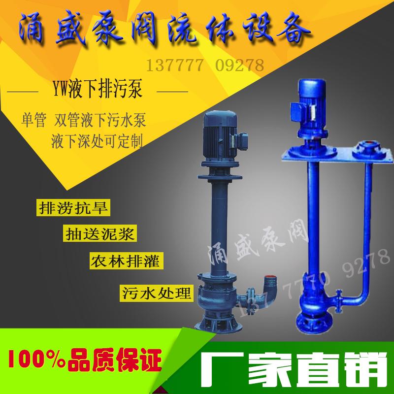 YW液下式排污泵无堵塞液下泵65YW25-30-4KW双管铸铁单管污水泵
