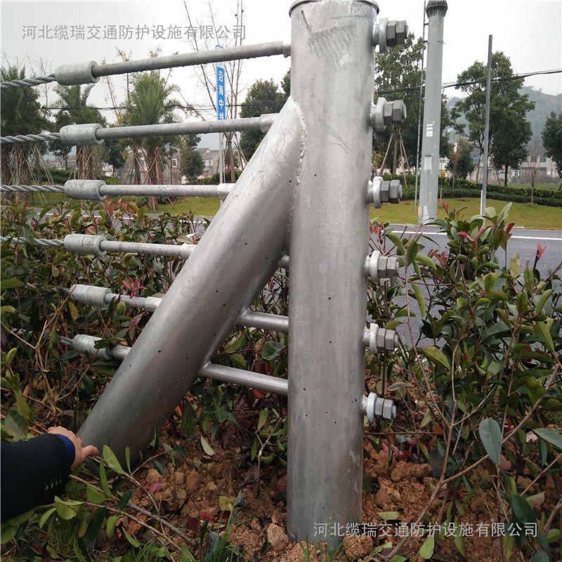 五索缆索护栏价格@五绳B级钢索护栏@河北缆瑞量大从优可定做