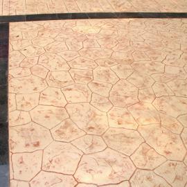 甘肃华池 广场彩色压花路面艺术压印地坪混凝土压模地坪