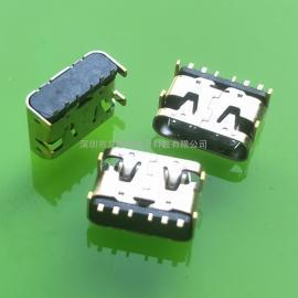 超短体6.2MM type-c母座 板上6P /10P贴片四脚DIP(卧式贴板)