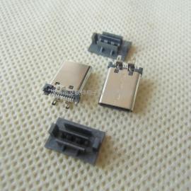 直立式/立贴type-c公头(180度三脚插板)立式SMT 板端type-c