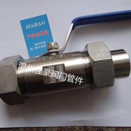佳豪牌 Q21F-16P 304SS不锈钢广式外带活接头焊接式球阀
