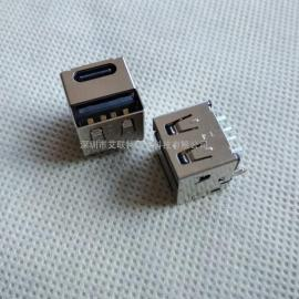 二合一车充尾插 一体双口(type-c母座+USBAF)180度插板式