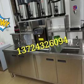 深圳带冷藏冷冻奶茶操作台现货款皇茶黑钛金水吧操作台制造厂家