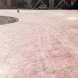 甘肃张掖 广场彩色压花路面艺术压印地坪混凝土压模地坪