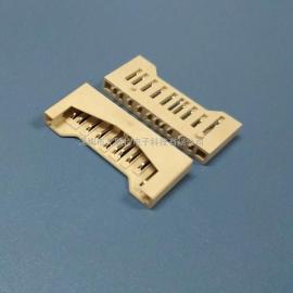 全塑SD卡座(全贴+带柱+lcp米黄胶)储存类SD贴片卡座