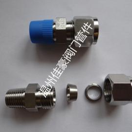 佳豪牌ZG1/4-FT8 304SS不�P�卡套式直通螺�y�K端管接�^