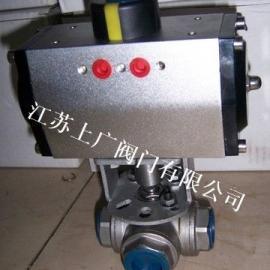 Q615F-16P气动不锈钢三通内螺纹球阀