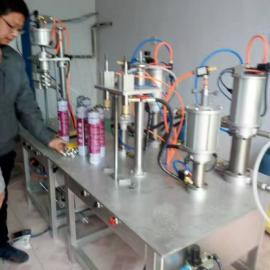 半自动家庭作坊式小型创业灌装聚氨酯泡沫胶填缝剂罐装机器