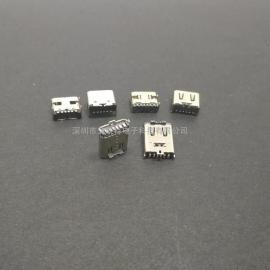6P type-c母座(直立式立贴 板上卧式 沉板贴片 侧立式侧插)CF