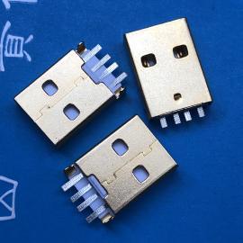短体USB A公头沉板4P 短体沉板SMT贴片 镀金 白胶2.0插头