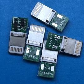 苹果iPhone带板公头8P 充电2P焊线 带PCB板 插板式 一体不包胶