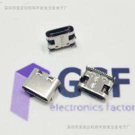 TYPE C 16P/12P贴片母座 板上四脚DIP插板 针SMT 3.1USB贴片母座