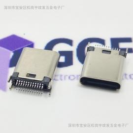 TYPE C3.1夹板USB母座|夹板0.8/1.0/1.2/1.6MM—高度L=9.3/10.5MM