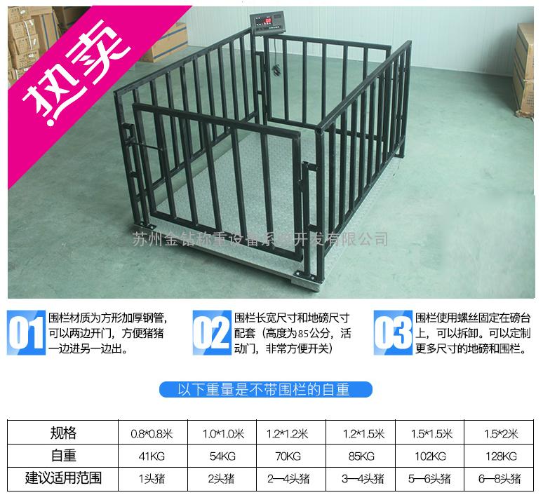 1吨/2吨/3吨电子地磅1mx1m可选打印仪表/围栏/引坡
