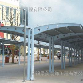 宜兴小区膜结构电瓶车充电棚-宜兴社区膜结构停车棚定制