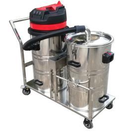 陶瓷厂用强力吸尘器制�厂用不锈�材质双桶式大吸力吸�m器