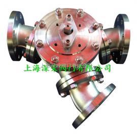 YQ342F蜗轮不锈钢Y型三通球阀