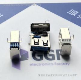 USB 2.0A母座 侧插沉板90度两脚鱼叉脚插板-反向胶芯 直边