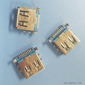 USB AF 3.0母座沉板贴片(六只固定脚-4脚SMT+2脚DIP)带4耳朵