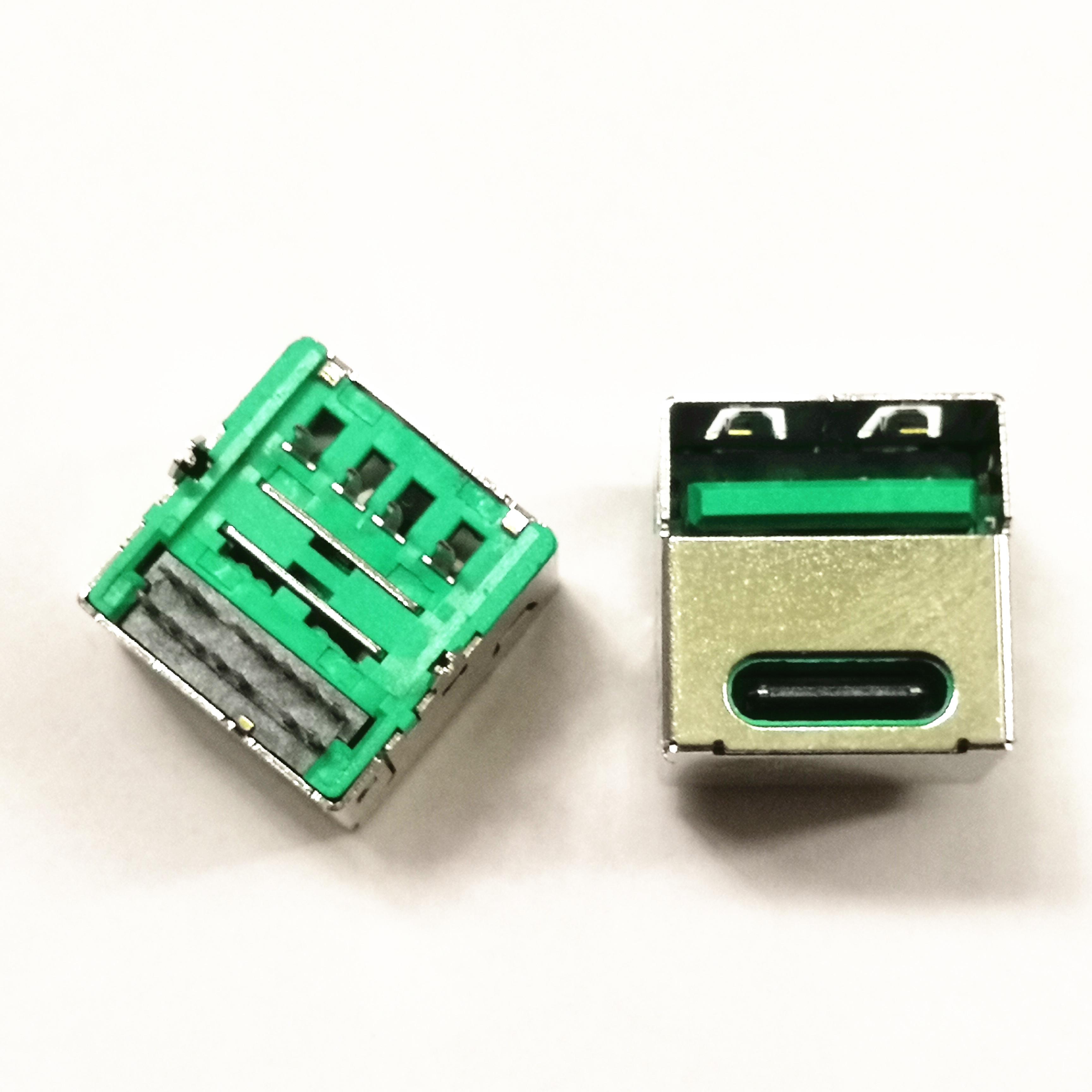双层二合一母座USB2.0A母+TYPE180度单面双面直插耐高温过回流焊