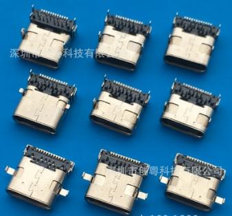 TYPE 3.1 USB 24P 沉板双包壳母座 前插后贴 DIP+SMT过高频母座