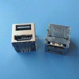 一体双用/两用接口 HDMI母座+usb2.0AF/90度插板式-双层二合一