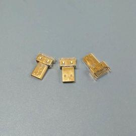 hdmi D型/micro夹板公头(180度双排19P 带夹板脚)多媒体接口