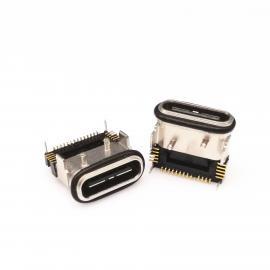 USB 3.1 TYPE C 防水母座 三排贴片 四脚插板 带固定柱防水胶圈