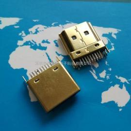 HDMI高清晰度多媒体接口/180度type-a HDMI夹板公头镀金壳+19PIN