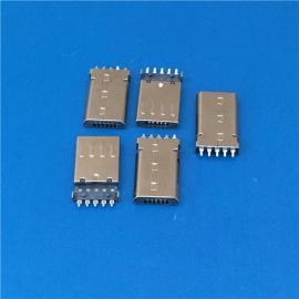 USB 2.0 贴板式MICRO 5P 公头 两脚插板贴片母座 无卡勾 有柱