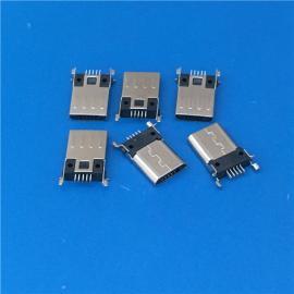 超薄3.0 micro 贴片公头 5P四脚沉板贴片SMT