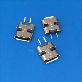 USB 2.0 MICRO 2P 沉板母座 90度插板 两脚高3.0 直边 黑胶芯