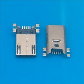 超薄3.0 Micro 贴片式5P公头 四脚全贴SMT 有弹 有柱 带卡勾