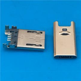 B型MICRO USB 5P公头 超薄3.0 90度四脚插板DIP 有柱有弹 带卡勾