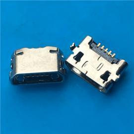 反向MICRO 5P 沉板母座 沉板0.6 两脚插板 DIP+SMT直边 镀镍