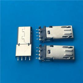 MICRO USB公头 长体沉板贴片式4P 前五后四 有弹有柱 长度14.65