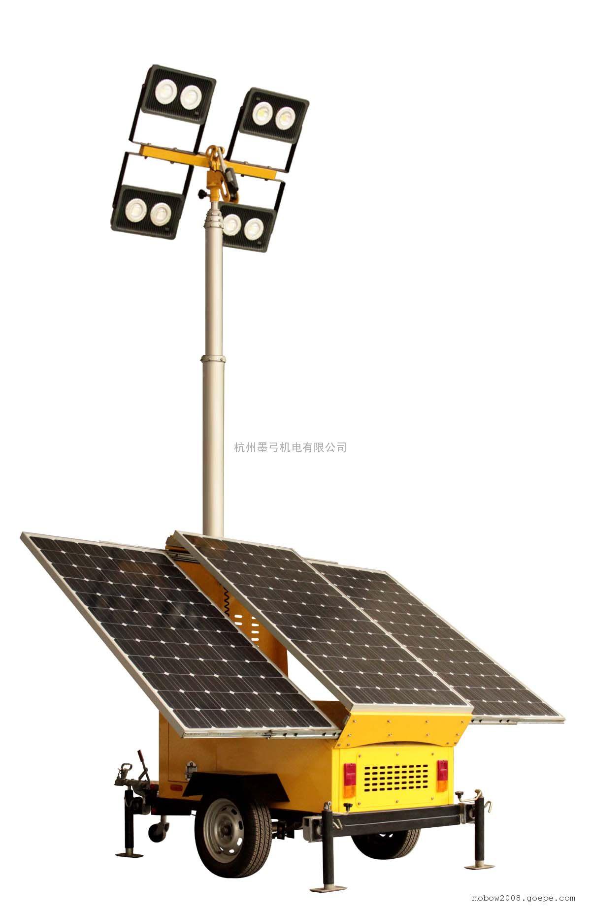 太阳能移动照明灯塔LED灯头4*60W
