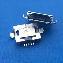 AB型 MICRO 5P 方口沉板母座 沉板1.0-1.6 无卷边两脚沉板