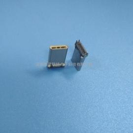USB3.1 type-c夹板公头(双排24P 夹距0.8)不锈钢 铆压壳 白胶