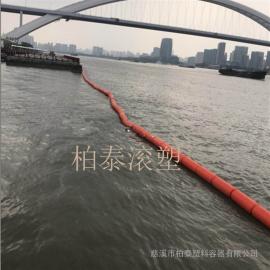 圆形浮筒式塑料拦污栅 河道浮渣清理拦截塑料浮体规格