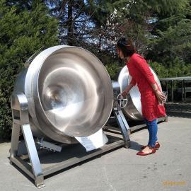 可倾蒸煮夹层锅 可倾熬制锅 立式电加热小型 蒸汽加热夹层锅带搅