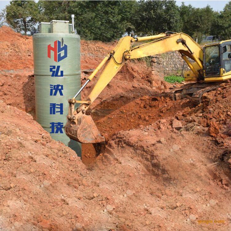 弘泱专业定制一体化预制泵站地埋式泵站玻璃钢材质防腐耐用