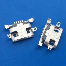 四脚沉板/MICRO 5P破板式母座 沉板0.8 前两脚有孔 直边雾锡